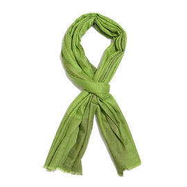 100% Cashmere Wool Bud Green Colour Zigzag Pattern Shawl with Fringes (Size 200X65 Cm)