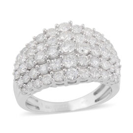 NY Close Out Deal 9K White Gold Diamond (Rnd) (I1-I2/G-H) Cluster Ring 2.00 Ct, Gold wt 4.50 Gms
