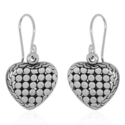 Royal Bali Collection Sterling Silver Heart Hook Earrings, Silver wt 5.71 Gms.