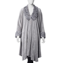 Faux Fur Coat with Leopard Print Collar and Cuffs (Size 140x100 Cm) - Light Grey