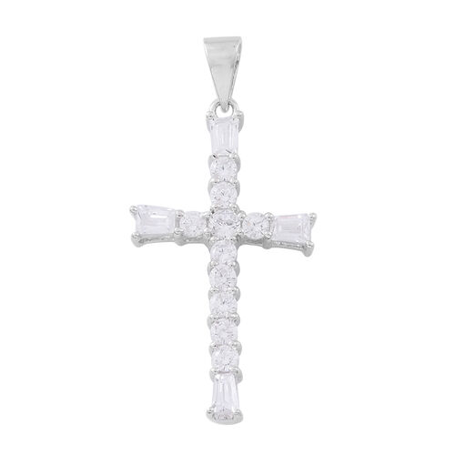 ELANZA AAA Simulated White Diamond (Rnd) Cross Pendant in Rhodium Plated Sterling Silver, Silver wt 3.34 Gms.
