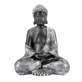 Large Meditating Buddha Statue (Size 31x23x42 Cm) - Silver