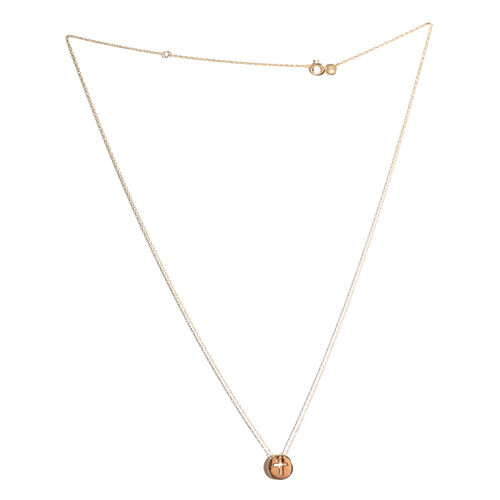 14K Yellow Gold Cross Circle Necklace (Size 18)
