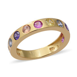 ELANZA Simulated Rainbow Sapphire Band Ring in Yellow Gold Sterling Silver 3.50 Ct.