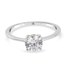 J Francis - Platinum Overlay Sterling Silver Solitaire Ring Made with SWAROVSKI ZIRCONIA 1.500 Ct.