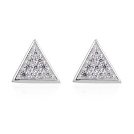 Natural Cambodian Zircon (Rnd) Earrings in Platinum Overlay Sterling Silver 0.500 Ct.