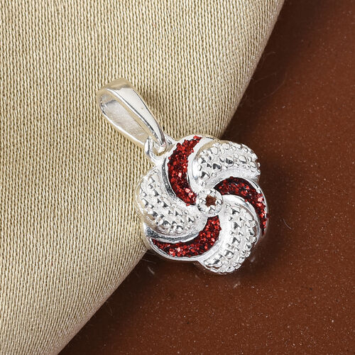 Red Diamond  Swirl Design Pendant in Sterling Silver