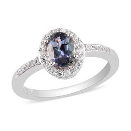 Peacock Tanzanite and Natural Cambodian Zircon Ring in Platinum Overlay Sterling Silver 1.00 Ct.