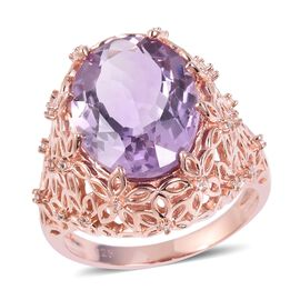 Designer inspired- Rose De France Amethyst (Ovl 8.75 Ct), Natural White Cambodian Zircon Ring (Size V) in Ros