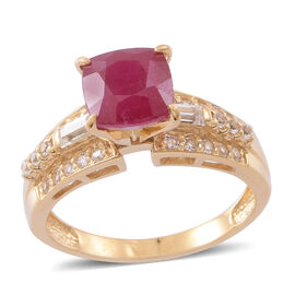 African Ruby (Cush 3.15 Ct), White Topaz Ring in 14K Gold Overlay Sterling Silver 4.150 Ct.