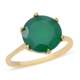 5 Ct Green Onyx Solitaire Ring in Gold Plated Sterling Silver