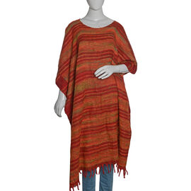 Red, Green and Multi Colour Stripes Pattern Poncho with Tassels (Free Size)