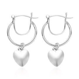 Platinum Overlay Sterling Silver Heart Charm Earrings (with Fancy Clasp)
