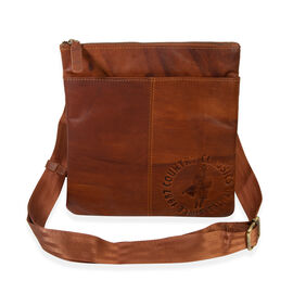 MCS Country Classics: 100% Genuine Leather Unisex Crossbody Messenger Bag (26 x 28 Cms) - Cognac Col
