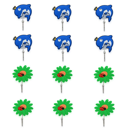 Set of 12 - Green Sunflower and Dolphin Sucker Hooks in Silver Tone