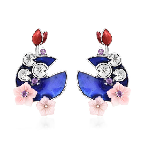 Jardin Collection - Pink Mother of Pearl and Amethyst Enamelled Floral Earrings (with Push Back) in