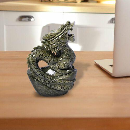 Handcrafted Jade Decorative Standing Dragon Figurine (Size 17x7cm)
