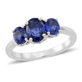 ILIANA 2 Carat AAA Ceylon Blue Sapphire Trilogy Ring in 18K White Gold 3.15 Grams