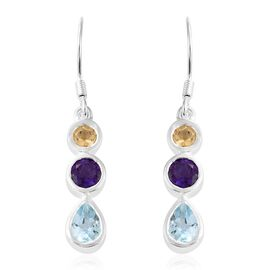 Sky Blue Topaz (Pear and Rnd), Amethyst and Citrine Hook Earrings in Sterling Silver 1.500 Ct. Silver wt 4.27 Gms.