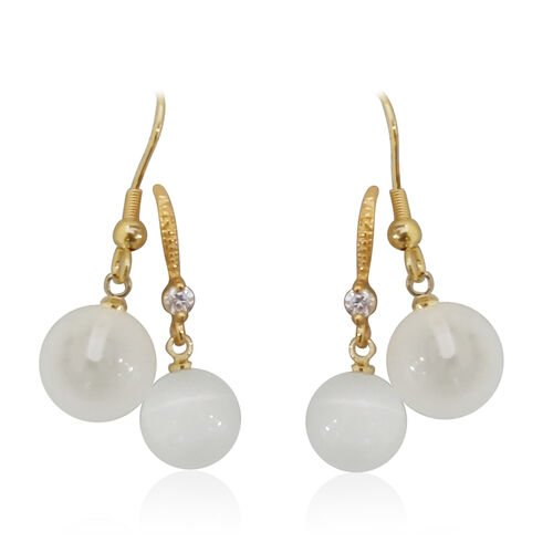 Set of 2-Simulated White Cats Eye and Simulated White Diamond Hook Earrings Yellow Gold Plated