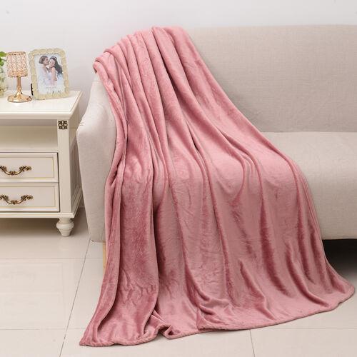 100% Microfiber Flannel Blanket with Self-Fabric Border (Size 200x150 Cm) - Dusky Rose