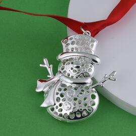 RACHEL GALLEY Lattice Snowman Charm with Ribbon in Silver Tone