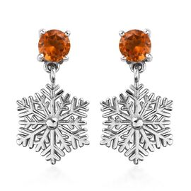 Citrine (Rnd) Snowflake Design Earrings (with Push Back) in Platinum Overlay Sterling Silver 0.75 Ct