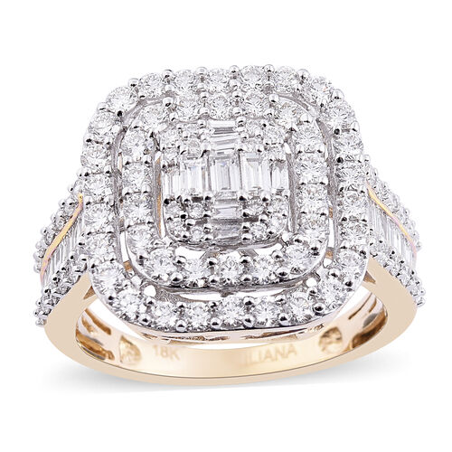 Auction Of The Month - ILIANA 18K Yellow Gold IGI Certified Diamond (SI/G-H) Cluster Ring 2.00 Ct.,