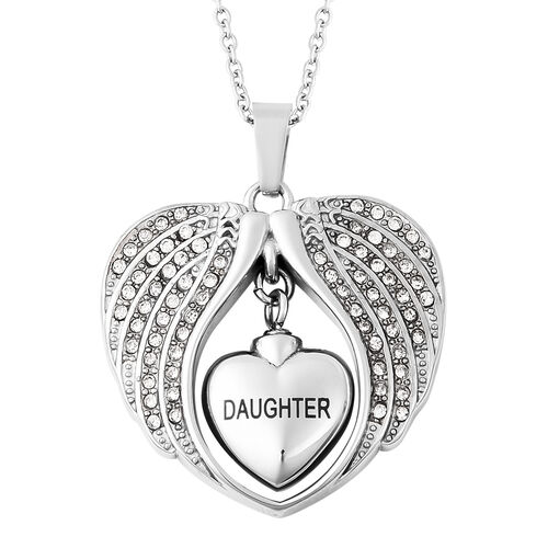 White Austrian Crystal Daughter Angel Wing Heart Memorial Urn Pendant with Chain (Size 20) in Stainl
