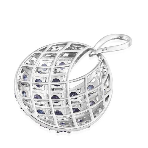 3 Carat Tanzanite Designer Pendant in Platinum Plated Silver