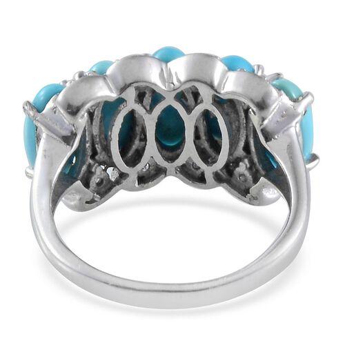 Arizona Sleeping Beauty Turquoise (Ovl), Tanzanite Ring in Platinum Overlay Sterling Silver 6.400 Ct.