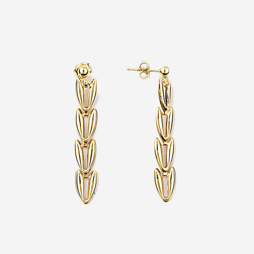 9K Yellow Gold V-Link Earrings Vintage Style (with Push Back), Gold Wt. 2.52 Gms