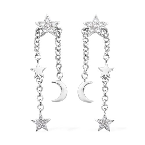 Natural Cambodian Zircon Moon Star Dangle Earrings (with Push Back) in Platinum Overlay Sterling Silver 0.75 Ct.