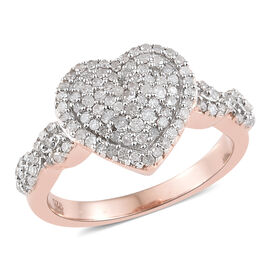Diamond (Rnd) Heart Ring in Rose Gold Overlay Sterling Silver 0.450  Ct