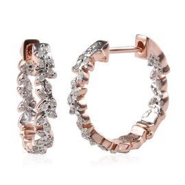 Diamond (Rnd) Olive Leaf Hoop Earrings in Rose Gold Overlay Sterling Silver 0.33 Ct.