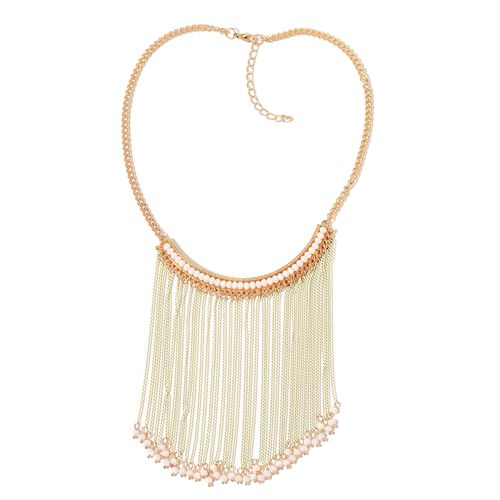 Simulated White Howlite White Colour Waterfall Necklace (Size 18 with 2 inch Extender) in Yellow Gold Tone