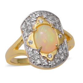 2 Carat Ethiopian Welo Opal and White Zircon Charm Ring in Two Tone Plated Silver