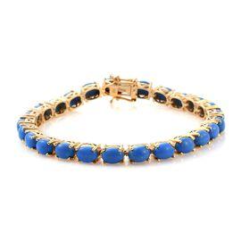 Ceruleite (Ovl) Tennis Bracelet (Size 7.5) in 14K Gold Overlay Sterling Silver 15.500 Ct. Silver wt
