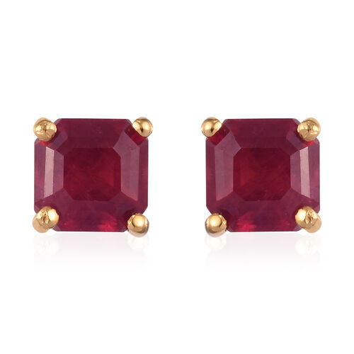 African Ruby (Asscher Cut) Stud Earrings (with Push Back) in 14K Gold Overlay Sterling Silver 3.00 C