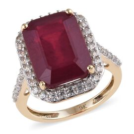 9K Yellow Gold AAA African Ruby (Oct 14x10mm), Natural Cambodian Zircon Ring 11.50 Ct.