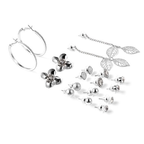 Set of 9 White Austrian Crystal Floral Earrings in Silver Tone
