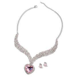 2 Piece Set - Simulated Morganite (Hrt), Pink Austrain Crystal, White Austrain Crystal Stud Earrings