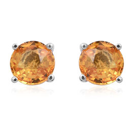 Yellow Sapphire (Rnd) Stud Earrings (with Push Back) in Rhodium Overlay Sterling Silver