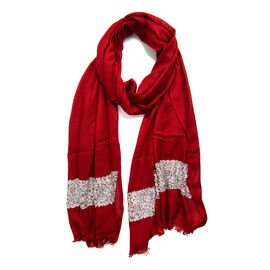 Maroon with Silver Colour Scarf with Embroidery (Size 180x70 Cm)