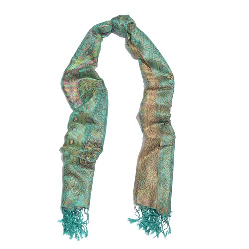 SILK MARK - 100% Superfine Silk Green, Pink and Multi Colour Paisley and Floral Pattern Jacquard Jamawar Scarf with Tassels (Size 185X70 Cm) (Weight 125 - 140 Gms)