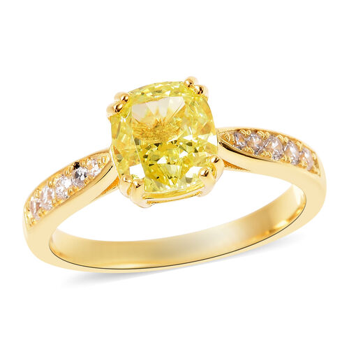 ELANZA Simulated Peridot and Simulated White Diamond Ring in Yellow Gold Overlay Sterling Silver 4.3