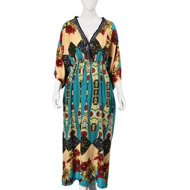 Flower Pattern Long Dress with Crystal Collar (One Size Fits All) - Teal Green and Multi