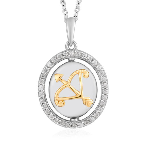 Natural Cambodian Zircon Zodiac-PiscSagittarius es Pendant with Chain (Size 20) in Yellow Gold and P