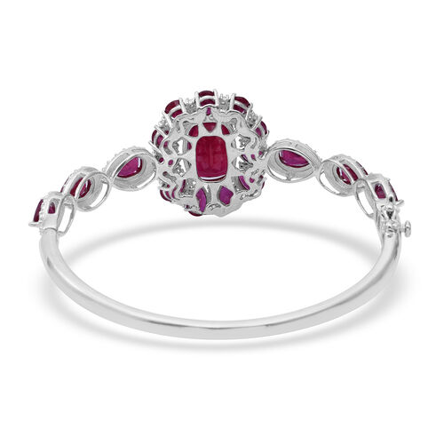 African Ruby (Cush), Natural Cambodian White Zircon Bangle (Size 7) in Rhodium Overlay Sterling Silver 22.420 Ct, Silver wt 15.60 Gms.