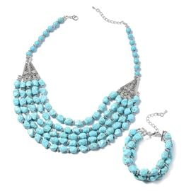 2 Piece Set - Blue Howlite Bracelet (Size 7 with 2 inch Extender) and Necklace (Size 20 with 2 inch